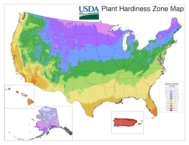 Where can you find a U.S. planting zone chart?